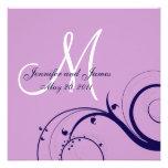 Invitación púrpura del boda de la marina de guerra