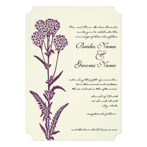 Invitación púrpura del boda de la rama del Wildflo