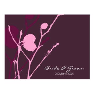 Invitación púrpura del boda de la ramita postales