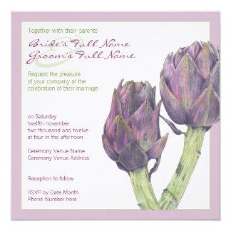 Invitación púrpura del boda de las alcachofas
