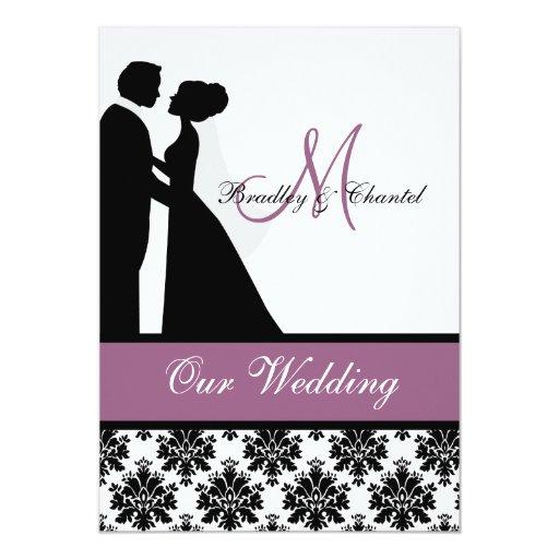 Invitación púrpura del boda de los pares del boda