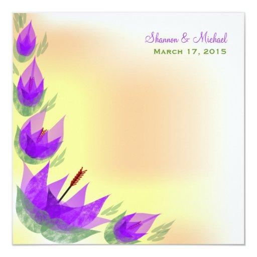 Invitación púrpura del boda de los tulipanes