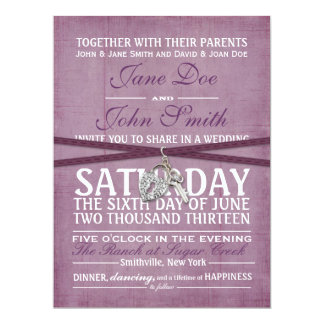 Invitación púrpura del boda de papel del vintage
