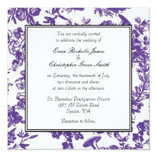 Invitación púrpura del boda de Toile