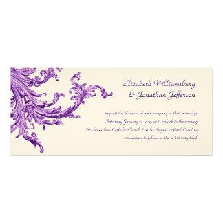 Invitación púrpura del boda del barrido del vintag
