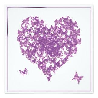 Invitación púrpura del boda del corazón de la invitación 13,3 cm x 13,3cm