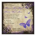 Invitación púrpura del boda del cuadrado del invitación 13,3 cm x 13,3cm