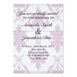Invitación púrpura del boda del damasco invitación 12,7 x 17,8 cm