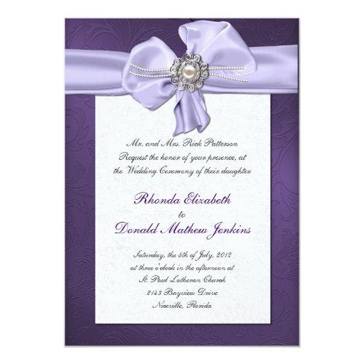 Invitación púrpura del boda del damasco