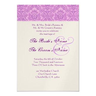Invitación púrpura del boda del damasco de la