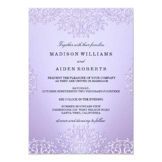 Invitación púrpura del boda del damasco del