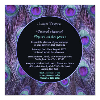 Invitación púrpura del boda del drama de la pluma