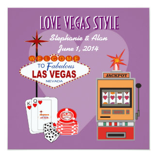 Invitación púrpura del boda del estilo de Vegas