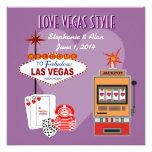 Invitación púrpura del boda del estilo de Vegas de