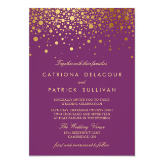Invitación púrpura del boda del falso de oro