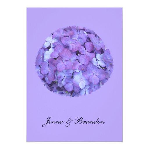 Invitación púrpura del boda del Hydrangea