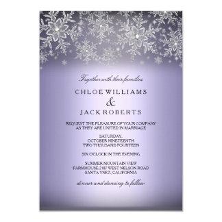 Invitación púrpura del boda del invierno del copo