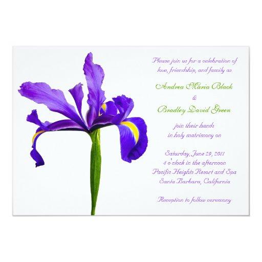 Invitación púrpura del boda del iris