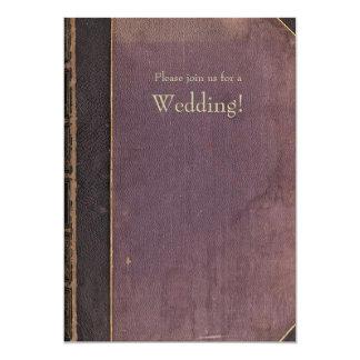 Invitación púrpura del boda del libro del vintage
