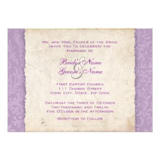 Invitación púrpura del boda del país de la lavanda