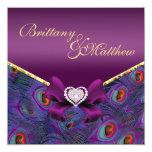 Invitación púrpura del boda del pavo real del invitación 13,3 cm x 13,3cm
