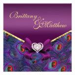 Invitación púrpura del boda del pavo real del ciru