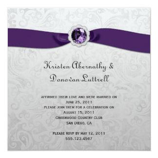 Invitación púrpura del boda del poste de la plata invitación 13,3 cm x 13,3cm