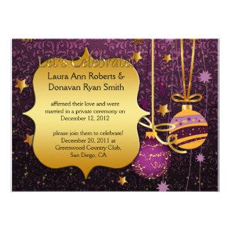 Invitación púrpura del boda del poste del navidad