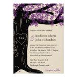 Invitación púrpura del boda del roble