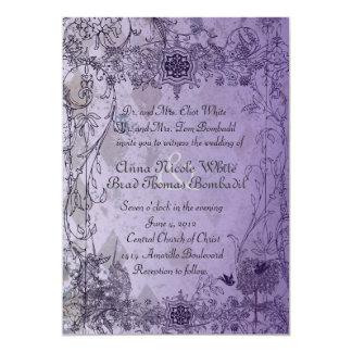 Invitación púrpura del boda del unicornio del invitación 12,7 x 17,8 cm