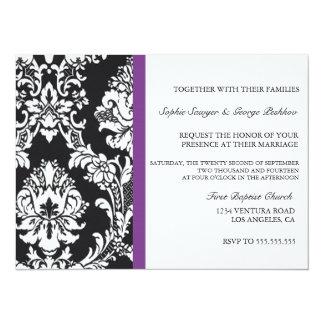 Invitación púrpura del boda del vintage