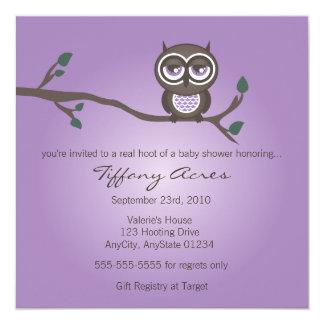 Invitación púrpura del búho invitación 13,3 cm x 13,3cm