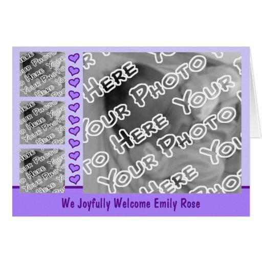 Invitación púrpura del carro y del nacimiento de tarjeta pequeña