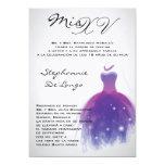 invitación púrpura del cumpleaños de Quinceanera