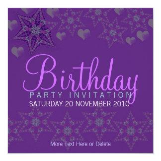 Invitación púrpura del cumpleaños del fiesta de