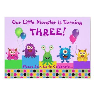 Invitación (púrpura) del cumpleaños del monstruo
