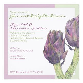 Invitación púrpura del fiesta de cena de las