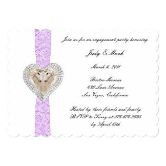 Invitación púrpura del fiesta de compromiso del