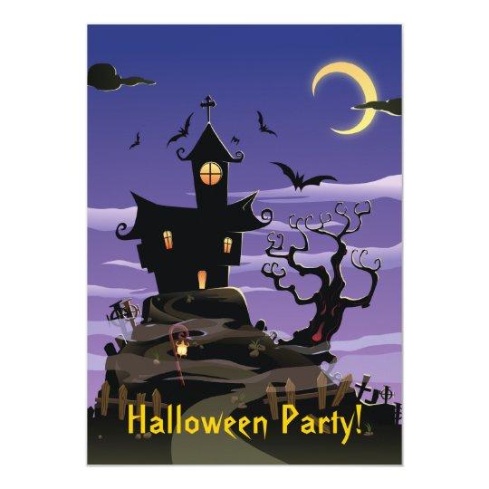 Invitación púrpura del fiesta de Halloween de la