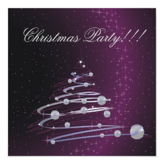 Invitación púrpura del fiesta del árbol de navidad