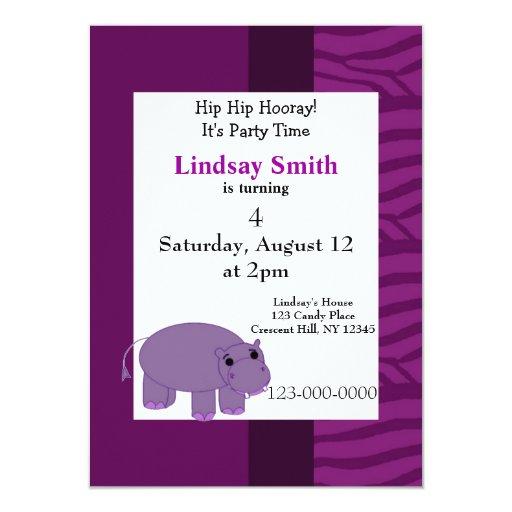 Invitación púrpura del fiesta del hipopótamo
