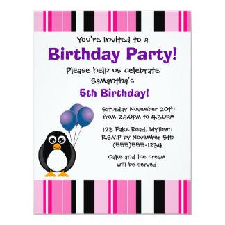 Invitación púrpura del fiesta del pingüino del invitación 10,8 x 13,9 cm