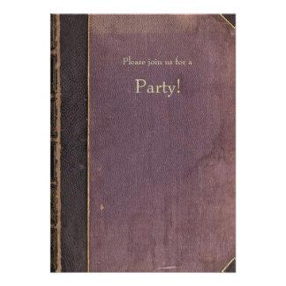 Invitación púrpura del libro del vintage