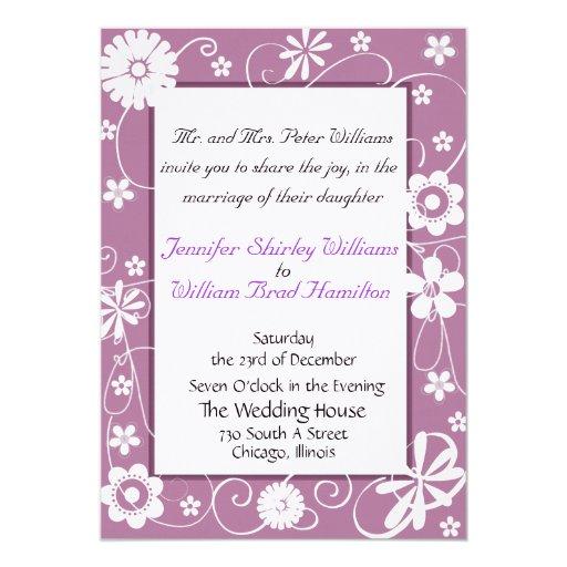 Invitación púrpura elegante del boda invitación 12,7 x 17,8 cm