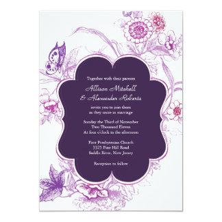 Invitación púrpura elegante del boda de la