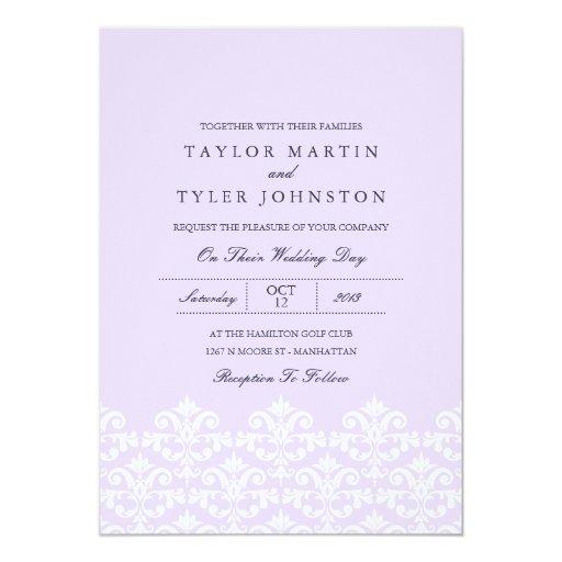 Invitación púrpura elegante del boda del damasco