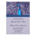 Invitación púrpura elegante del boda del pavo real