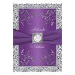 Invitación púrpura IMPRESA de la bodas de plata de