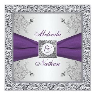 Invitación púrpura IMPRESA II de la bodas de plata Invitación 13,3 Cm X 13,3cm