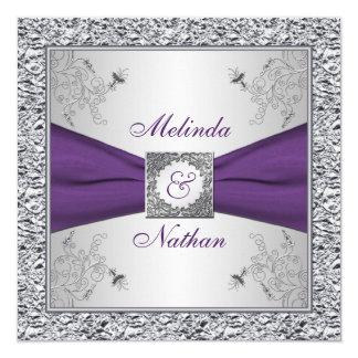 Invitación púrpura IMPRESA II de la bodas de plata